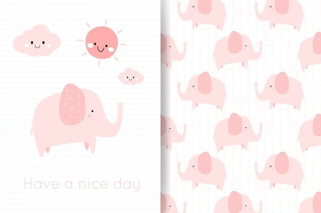 Lindo pastel rosa elefante mano dibujar tarjeta de dibujos animados y patrones sin fisuras