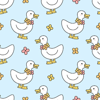 Lindo pato y flores collar de patrones sin fisuras