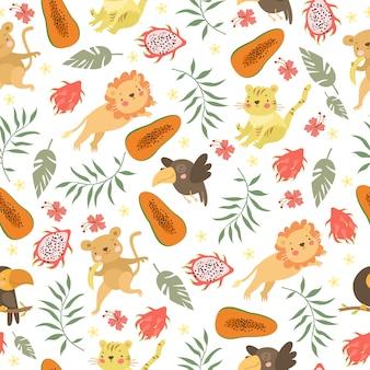 Lindo patrón de animales exóticos