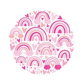 Lindo patrón de arco iris de color rosa. ilustración de niños.