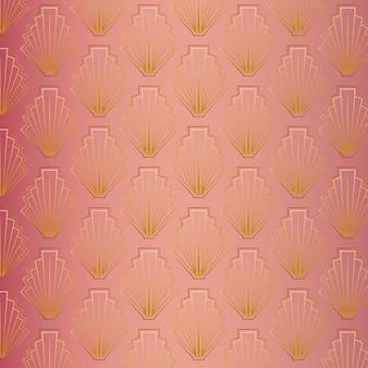 Lindo patrón art deco de oro rosa