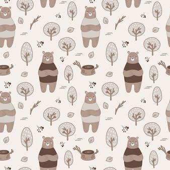Lindo patrón de bosque transparente con osos