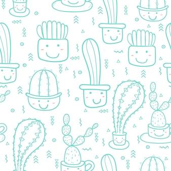 Lindo patrón de cactus inconsútil. ilustraciones de vectores para el diseño de papel de regalo.