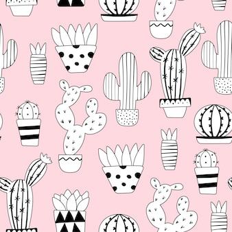 Lindo patrón de cactus inconsútil