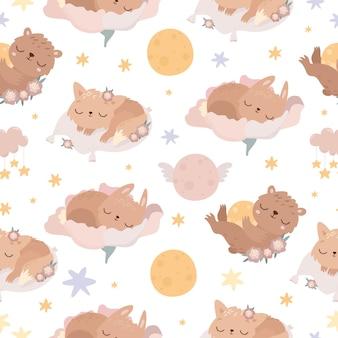 Lindo patrón sin costuras con animales dormidos