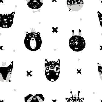 Lindo patrón sin costuras con animales escandinavos.