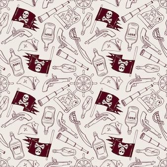 Lindo patrón sin costuras de un barco pirata y atributos