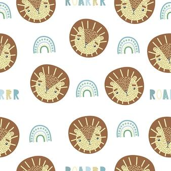 Lindo patrón sin costuras con bebé león, arco iris y letras roar. impresión infantil creativa.