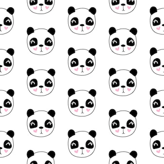 Lindo patrón sin costuras con cabeza de panda
