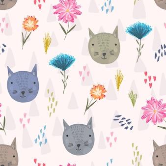 Lindo patrón sin costuras con cabezas de gatos coloridos dibujos animados, corazones rosas y flores
