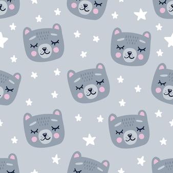 Lindo patrón sin costuras con cabezas de oso durmiendo.