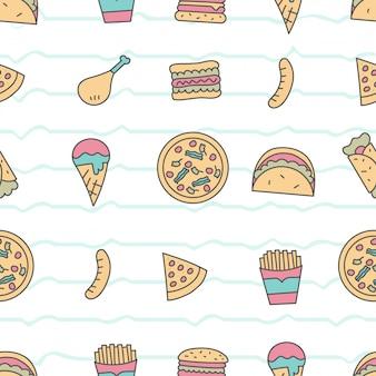 Lindo patrón sin costuras con comida rápida