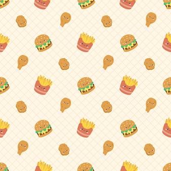 Lindo patrón sin costuras de comida rápida