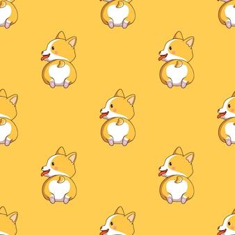 Lindo patrón sin costuras corgi con estilo doodle sobre fondo amarillo
