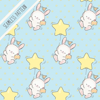 Lindo patrón sin costuras de cumpleaños de conejitos kawaii para niños pequeños