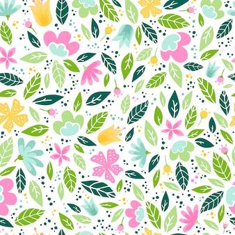 Lindo patrón sin costuras con flores y hojas
