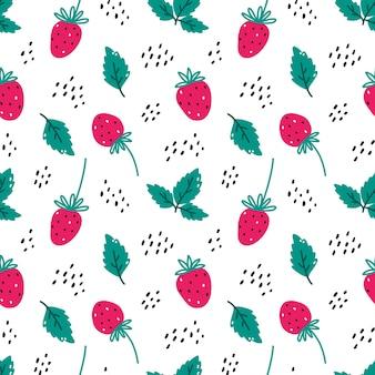 Lindo patrón sin costuras con fresa y hojas en blanco