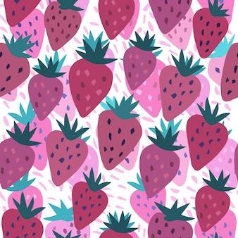 Lindo patrón sin costuras de fresa y lunares en blanco