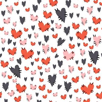 Lindo patrón sin costuras de halloween - corazones de colores textiles con puntadas