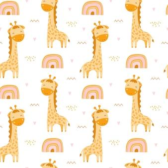 Lindo patrón sin costuras con jirafas y arco iris