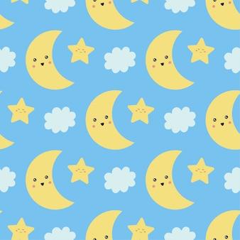 Lindo patrón sin costuras con luna, estrellas y nubes