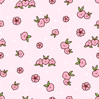 Lindo patrón sin costuras con melocotones y flores con puntos blancos sobre un fondo rosa