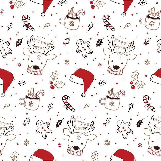 Lindo patrón sin costuras de navidad en estilo doodle