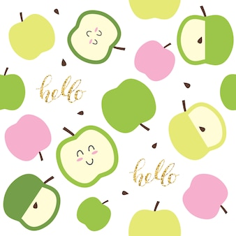 Lindo patrón sin costuras para niños con manzanas kawaii y elementos brillantes