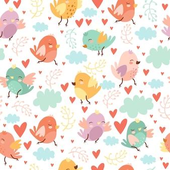 Lindo patrón sin costuras con pájaros