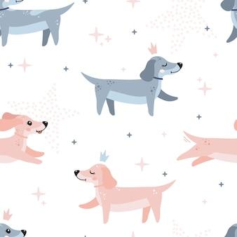 Lindo patrón sin costuras con perros lindos perros salchicha