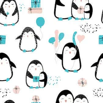 Lindo patrón sin costuras con pingüinos y regalos