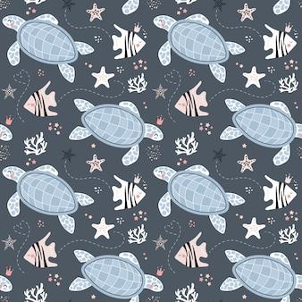Lindo patrón sin costuras con tortugas y peces
