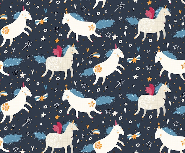 Lindo patrón sin costuras con unicornios, estrellas y corazones