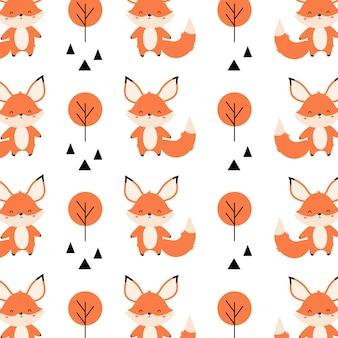 Lindo patrón sin costuras con zorros