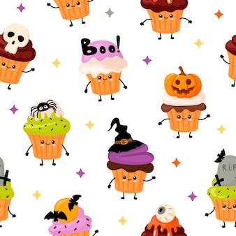 Lindo patrón con cupcakes de halloween kawai en estilo de dibujos animados