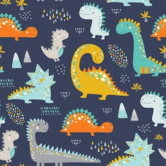 Lindo patrón de dinosaurios para niños divertidos.