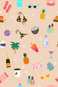 Lindo patrón de elementos de vacaciones de verano