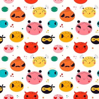 Lindo patrón de emoticonos diferentes