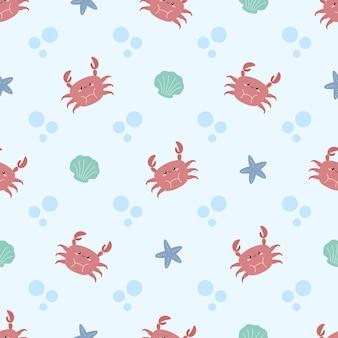 Lindo patrón de estrellas de mar y conchas de cangrejo de verano.