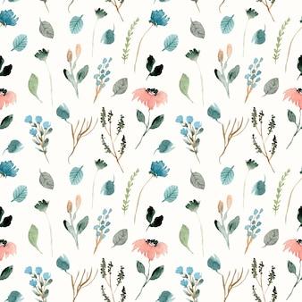 Lindo patrón floral acuarela floral salvaje