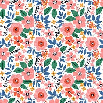 Lindo patrón floral en las pequeñas flores de color rosa coral textura de vector transparente fondo blanco