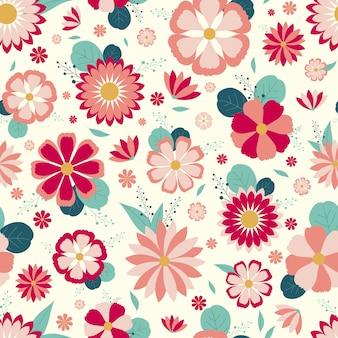 Lindo patrón floral transparente con fondo blanco
