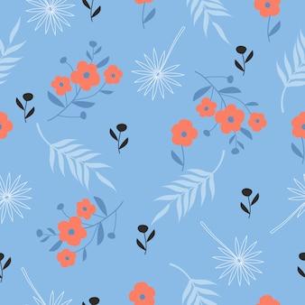 Lindo patrón floral vintage dibujado a mano sin costura