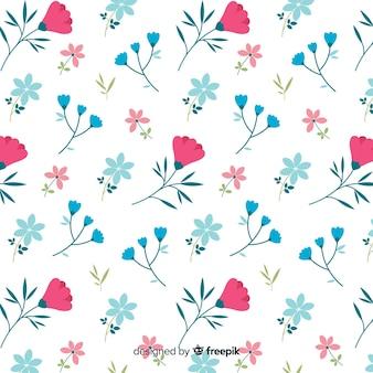 Lindo patrón de flores sobre fondo blanco