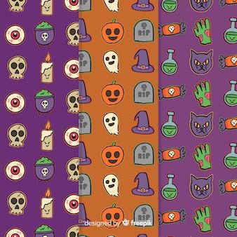 Lindo patrón de halloween dibujado a mano