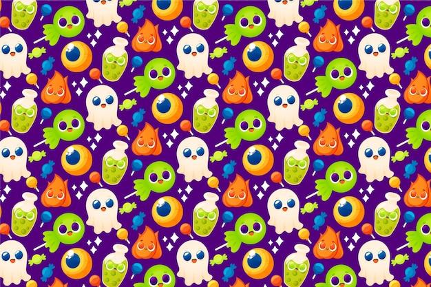 Lindo patrón de halloween dibujado