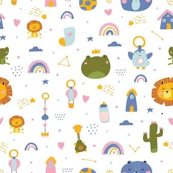 Lindo patrón inconsútil de baby shower estilo escandinavo