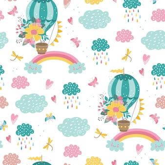 Lindo patrón infantil con globo aerostático