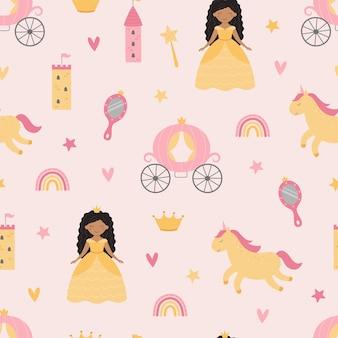Lindo patrón infantil con una princesa y un unicornio.