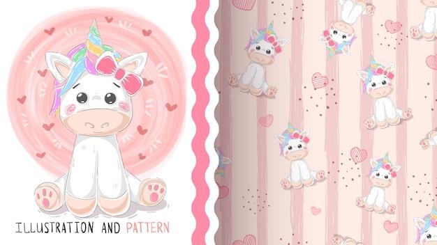 Lindo patrón mágico unicornio sin costura